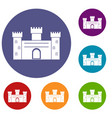 medieval fortification icons set vector image vector image