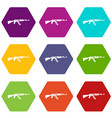 military rifle icon set color hexahedron vector image vector image