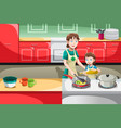 mother daughter cooking vector image vector image
