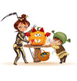 mother with son carving halloween pumpkin poster vector image vector image