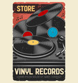 musical instruments and vinyl records store vector image