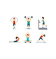 people doing sport exercises set men and women vector image