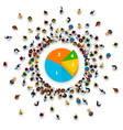 people surround the pie chart vector image vector image