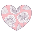 Pink heart with hand drawn roses vector image vector image