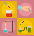 pipette dropper banner concept set flat style vector image