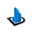 real estate or building with blue color logo vector image vector image