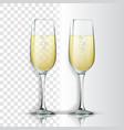 realistic glass with sparkling champagne vector image vector image