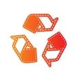 Recycle logo concept Orange applique isolated vector image vector image