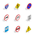 road and highway sign icons isometric 3d style vector image vector image