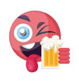 round pink happy emoji face holding a beer on a vector image vector image