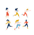 set happy running women dressed in casual vector image vector image