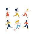 set happy running women dressed in casual vector image