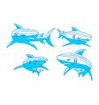 shark logo character design outline set template vector image vector image