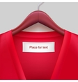 T-shirt with label hanging on a hanger vector image vector image