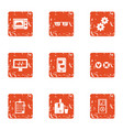 technical genius icons set grunge style vector image vector image