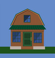 the facade of a country wooden house with a vector image