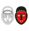 tribal maya african masks - outlune and color vector image vector image