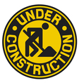 under construction sign with man vector image vector image