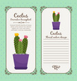 vintage label with cactus plant vector image vector image