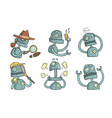 vintage robot character set funny steampunk vector image