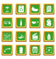 waste and garbage icons set green vector image vector image