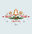 winter festive decorations with gingerbread vector image vector image