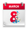 womens day calendar page vector image vector image