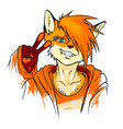 young fluffy fox gesture shows victory fox furry vector image vector image