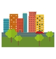 city scene and buildings with trees line sticker vector image
