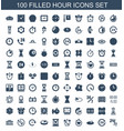 100 hour icons vector image vector image