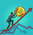 african american man roll a bitcoin coin up vector image vector image
