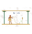 ancient egypt background man sows wheat on the vector image vector image