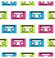 audio tape neon seamless pattern vector image vector image