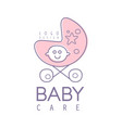 baby care logo design emblem with pink baby vector image vector image