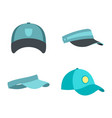 baseball cap icon set flat style vector image vector image