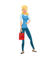 beauty woman standing red gift bag shopping vector image vector image