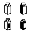 black milk carton packages icons set vector image vector image