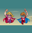 boy and girl flying together vector image