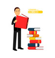 businessman character reading books and getting vector image vector image