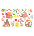 cartoon funny spring collection with bunny animal vector image vector image