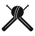 Cricket ball and bats logo simple style
