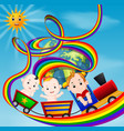 cute baby and train on the rainbow vector image