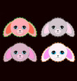 cute pastel colors pink and grey rabbits vector image vector image
