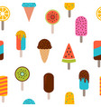 cute summer seamless pattern with ice cream vector image vector image