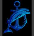 dolphin around an anchor vector image vector image