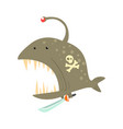 funny cartoon angler fish with pirate sign on its vector image vector image