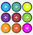 game cards icon sign Nine multi colored round vector image vector image