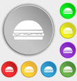 Hamburger icon sign Symbol on eight flat buttons vector image vector image