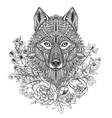 hand drawn graphic ornate head wolf with ethnic vector image vector image