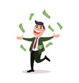 happy businessman character running under money vector image vector image